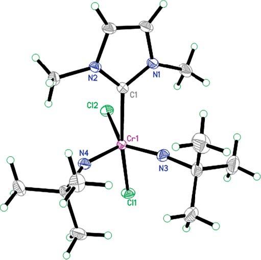 Chromium (VI) Bisimido Dichloro, Bisimido Alkylidene and Chromium (V) Bisimido Iodo N-Heterocyclic Carbene Complexes